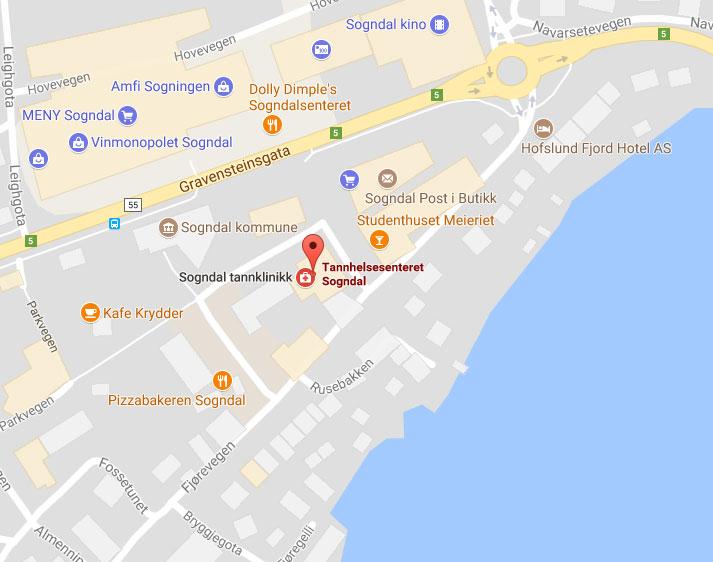 Kart Tannhelsesenteret Sogndal
